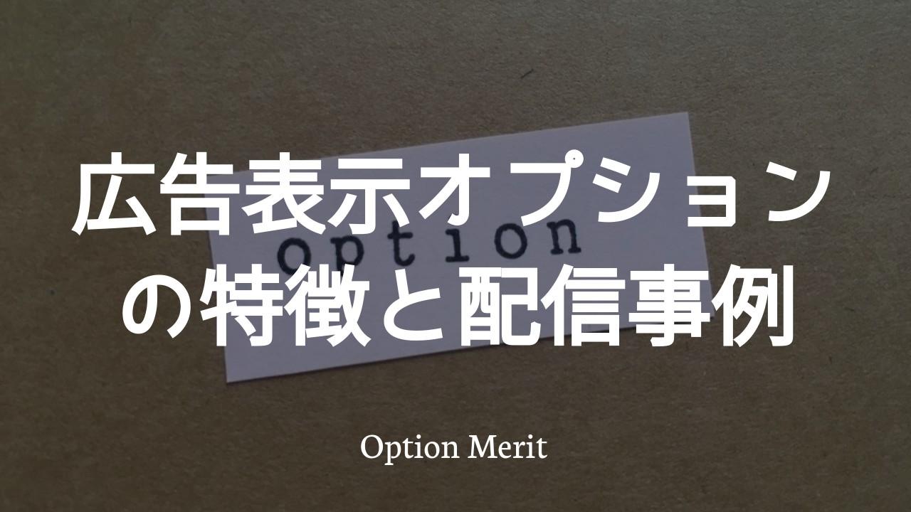 広告表示オプションの特徴と配信事例